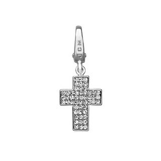 Cross Charm with White Crystal in Sterling Silver