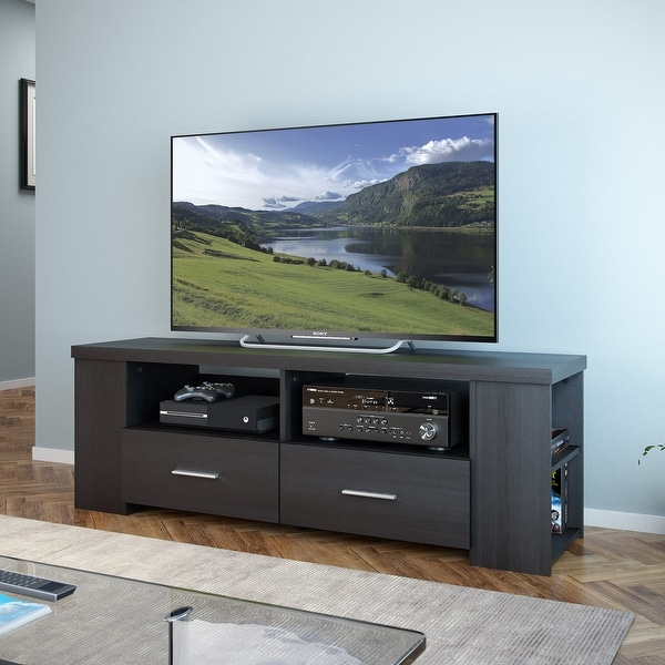 """CorLiving Bromley TV Bench in Ravenwood Black, for TVs up to 75"""". Opens flyout."""