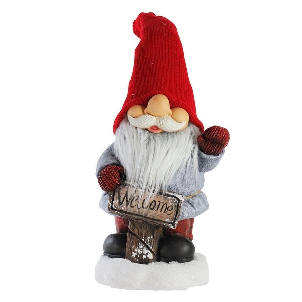 "24"" Waving Smiling Christmas Santa Gnome with Red Hat and Welcome Sign"