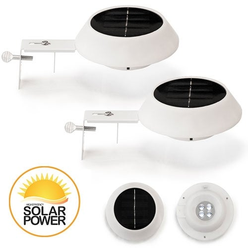 2 Pack LUNALITE Round Solar Gutter/Fence Lights