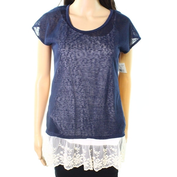 Moa Moa Navy Womens Embroidered-Mesh Sheer Knit Top
