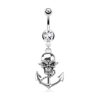 Pirate Skull Anchor Dangle Navel Belly Button Ring 316L Surgical Steel