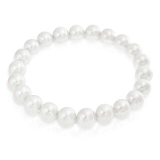 Bling Jewelry Round White Bridal Imitation Pearl Stretch Bracelet 8mm