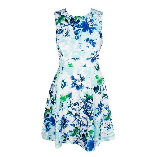 c1ac3c8562ae7 Calvin Klein Aqua Multi Sleeveless Floral-Print Fit  amp  Flare Dress 8P