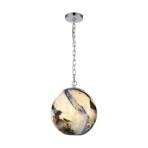 Hogarth Drift - 1 Light Pendant Blue Planet/Chrome/Chrome Finish with Blue Planet Glass