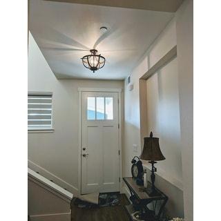 Bopelo Brushed Dark Bronze 3-Light Semi-Flush Ceiling Lamp