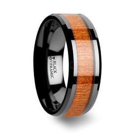 IOWA Black Ceramic Wedding Ring with Polished Bevels and Black Cherry Wood Inlay 8mm