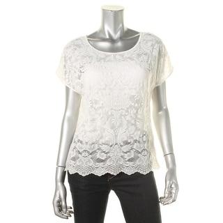 Denim & Supply Ralph Lauren Womens Casual Top Lace Scoop Neck