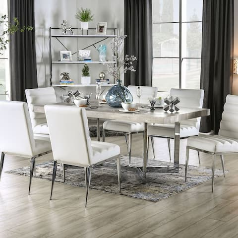 Furniture of America Lemm Contemporary Chrome Rectangular Dining Table