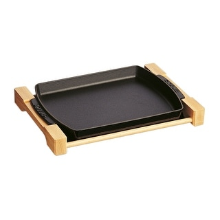 Staub Cast Iron 15 x 9-inch Rectangular Serving Dish with Wood Base - Matte Black - 15-inchx9-inch