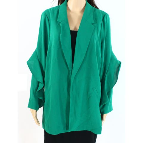 Alfani Women's Blazer Green Size XL Flounce Sleeve Notched Collar