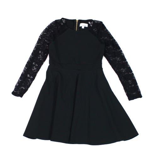 Nickie Lew Girls Skater Dress Black Size 8 Ponte Crepe Knit Lace Yoke