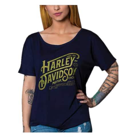 Harley-Davidson Women's Metallic Script Short Sleeve Slouchy Tee, Navy Blue
