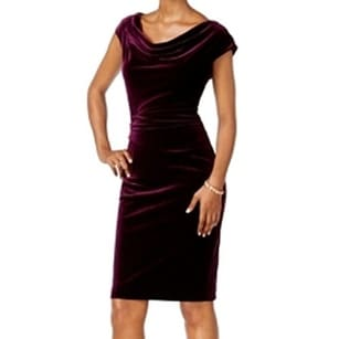 78849510a4ba Shop Jessica Howard NEW Wine Purple Womens Size 12 Velvet Sheath Dress - Free  Shipping On Orders Over $45 - Overstock.com - 18324296
