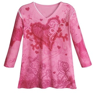 Women's Sweetheart Roses Pink Three Quarter Sleeve Shirt