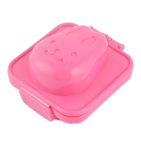 Kitchen Plastic Rabbit Head Shaped DIY Sandwich Bread Egg Rice Ball Mould Pink