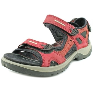 Ecco Offroad Yucatan Sandal Men Open-Toe Leather Burgundy Sport Sandal