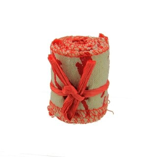 """Country Cabin Red and Beige Scripted Linen Decorative Christmas Ribbon Garland 1.5"""" x 2.2 Yards - brown"""