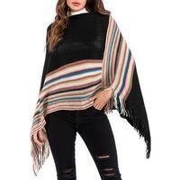 QZUnique Women's Tassel Pullover Wrap Shawl Cape Retro Cloak Sweater