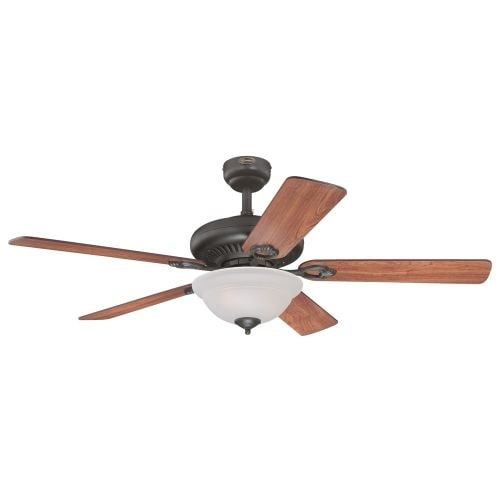 """Westinghouse 7839900 Fairview 52"""" 5 Blade Hanging Indoor Ceiling Fan with Reversible Motor, Blades, Light Kit, Remote, and Down"""