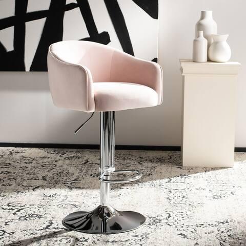 "SAFAVIEH Couture Ellsworth Velvet/ Metal Adjustable 35-inch Bar Stool - 21.3"" W x 22.1""L x 44.1"" H"
