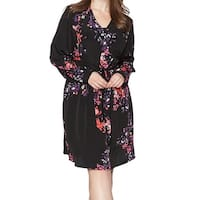 Rachel Roy Black Womens Size 18W Plus Floral Print A-Line Dress