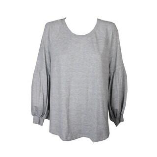 Style & Co Plus Size Grey Heather Bishop-Sleeve Sweatshirt 3X