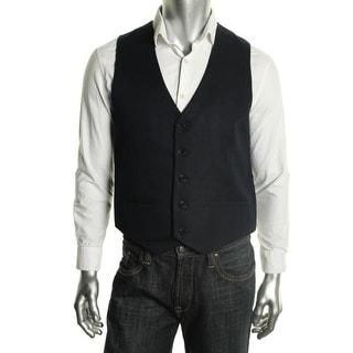 Calvin Klein Mens Linen Blend Shadow Stripe Suit Vest - L