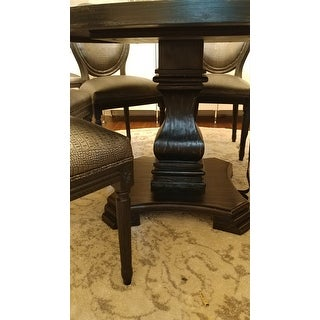 Copper Grove Plachkov Antique Black Wood Traditional Farmhouse-style Pedestal-base Round Dining Table