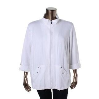 Karen Scott Womens Plus Jacket Cotton Cuff Sleeves - 3x