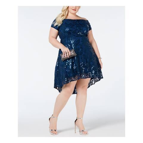MORGAN & CO Blue Cap Sleeve Knee Length Circle Dress Size 16W