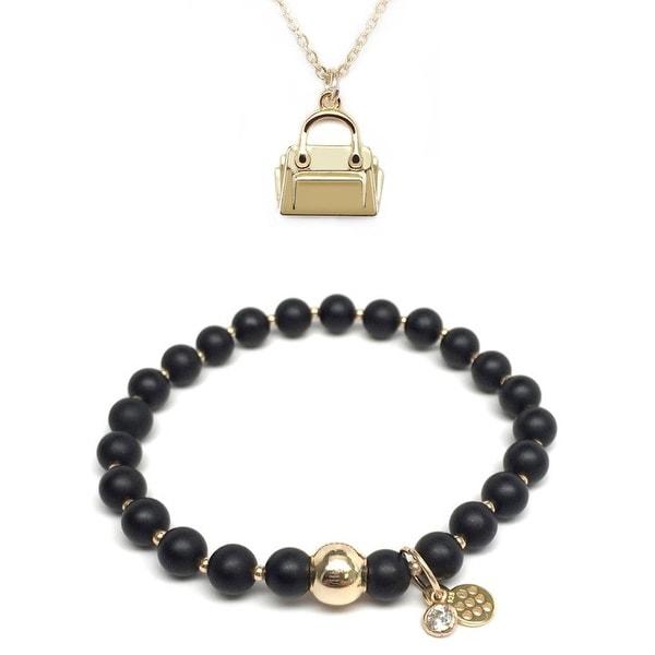 "Black Onyx 7"" Bracelet & Handbag Gold Charm Necklace Set"
