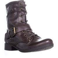 Guess Bleaker Lace Up Block Heel Combat Boots, Dark Brown