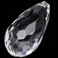 Acrylic Faceted Teardrop Pendant Beads Clear 35x19mm (4)
