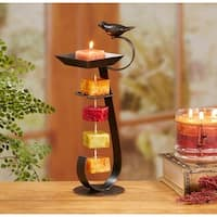 Pack of 2 Espresso Brown Bird Bath Decorative Rope Candle Holders 12""