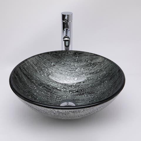 Vinnova Glass Circular Vessel Bathroom Sink without Faucet