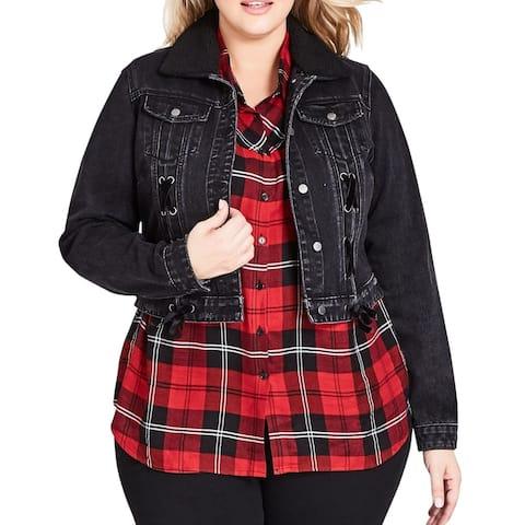 City Chic Womens Jacket Black Size 14W Plus Denim Faux Fur Collar