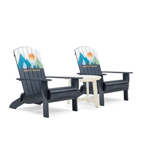 Life is Good Adirondack Oversized Folding Chairs and Side Table (Set of 3)