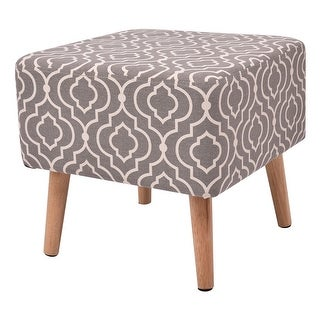 Costway Square Stool Seat Polyester Cover Home Furniture Decor W/4 Wooden Solid Legs