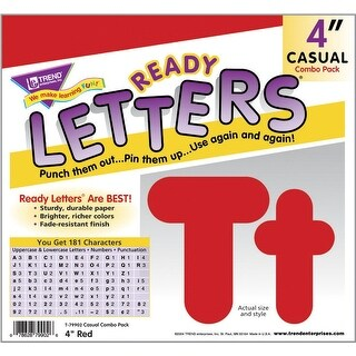 Trend Enterprises Casual Decorative Letter, 4 in, Red, Pack of 181