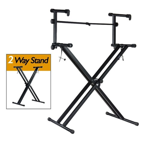 PARTYSAVING Pro Series Portable 2 Tier Doubled Keyboard Stand with Locking Strap