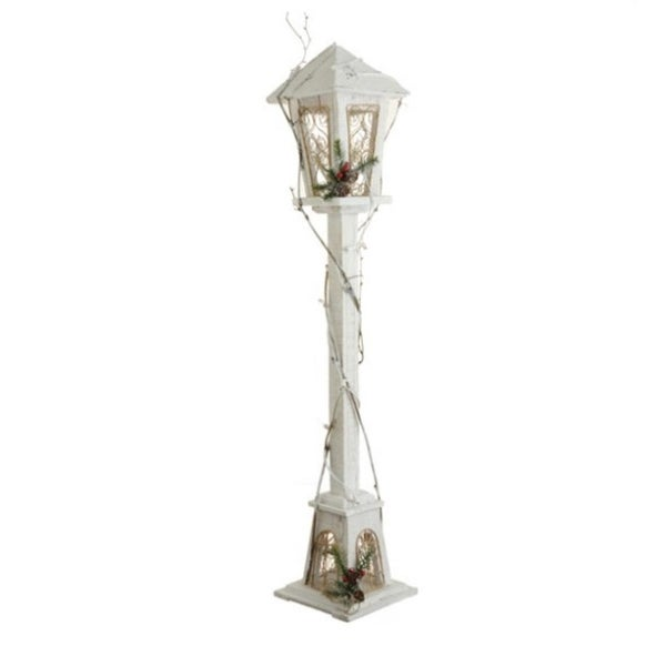 "38"" White and Gold Distressed Antique Style Lighted Lamp Post Christmas Decoration"