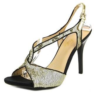 Marc Fisher Hide Women Open-Toe Synthetic Gold Heels