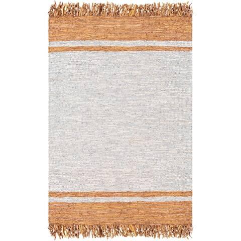Andaman Rustic Leather/Cotton Handmade Area Rug