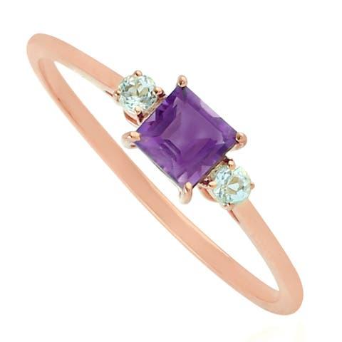 Amethyst Ring 10kt Rose Gold Designer Handmade Jewelry
