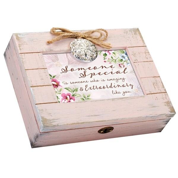 """8.5"""" Blush Pink and White Distressed Rectangular Pallet Locket Music Box - N/A"""