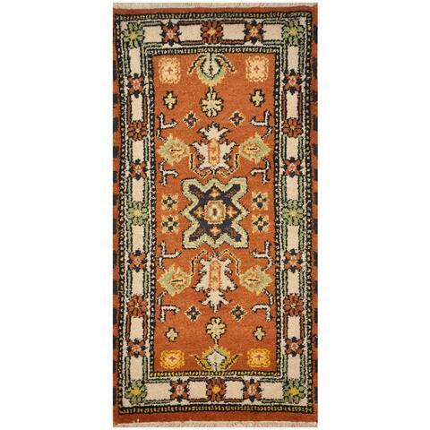 Handmade One-Of-A-Kind Tribal Kazak Wool Rug (India) - 2'1 x 4'1