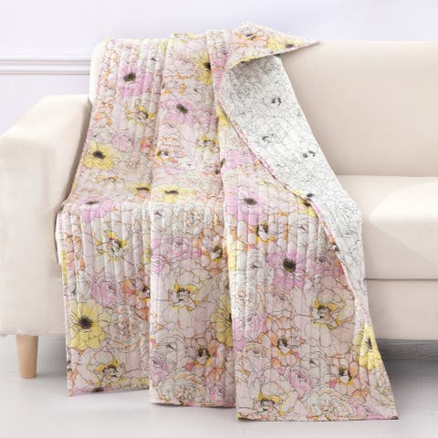 Greenland Home Fashions Misty Bloom Quilted Reversible Throw Blanket