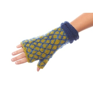 Pure Wool Hand Knitted Fingerless Gloves for Ladies