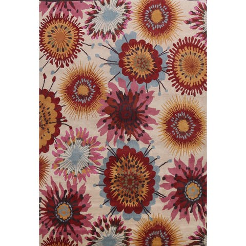 """Transitional Floral Oriental Area Rug Wool Hand-tufted Bedroom Carpet - 10'0"""" x 12'11"""""""